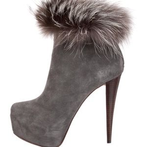 Alice + Olivia • Penelope Suede Fox Fur Ankleboots